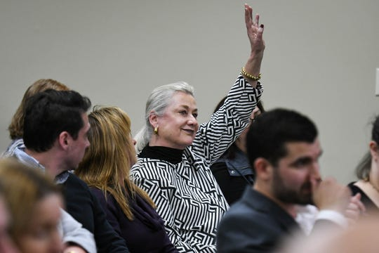 Ginnie Malone comments at the Wicomico County Health Department and  Maryland Department for the Environment joint meeting on septic system permits at the Wicomico Youth & Civic Center on Thursday, Feb. 21, 2019.