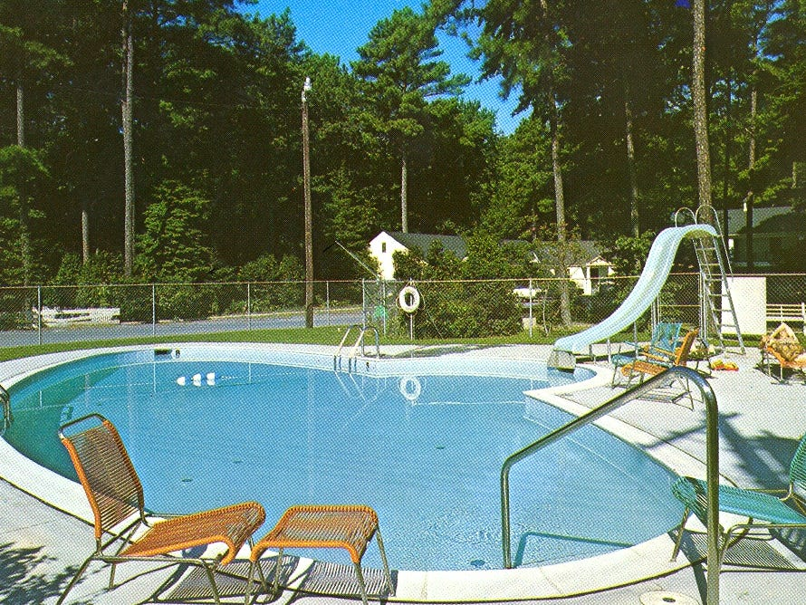 A 1960s photo of the pool at the former Whispering Pines Motel in Tasley. The tourist destination, which has been mostly vacant for over a decade, was set on fire Tuesday, March 12, 2013.