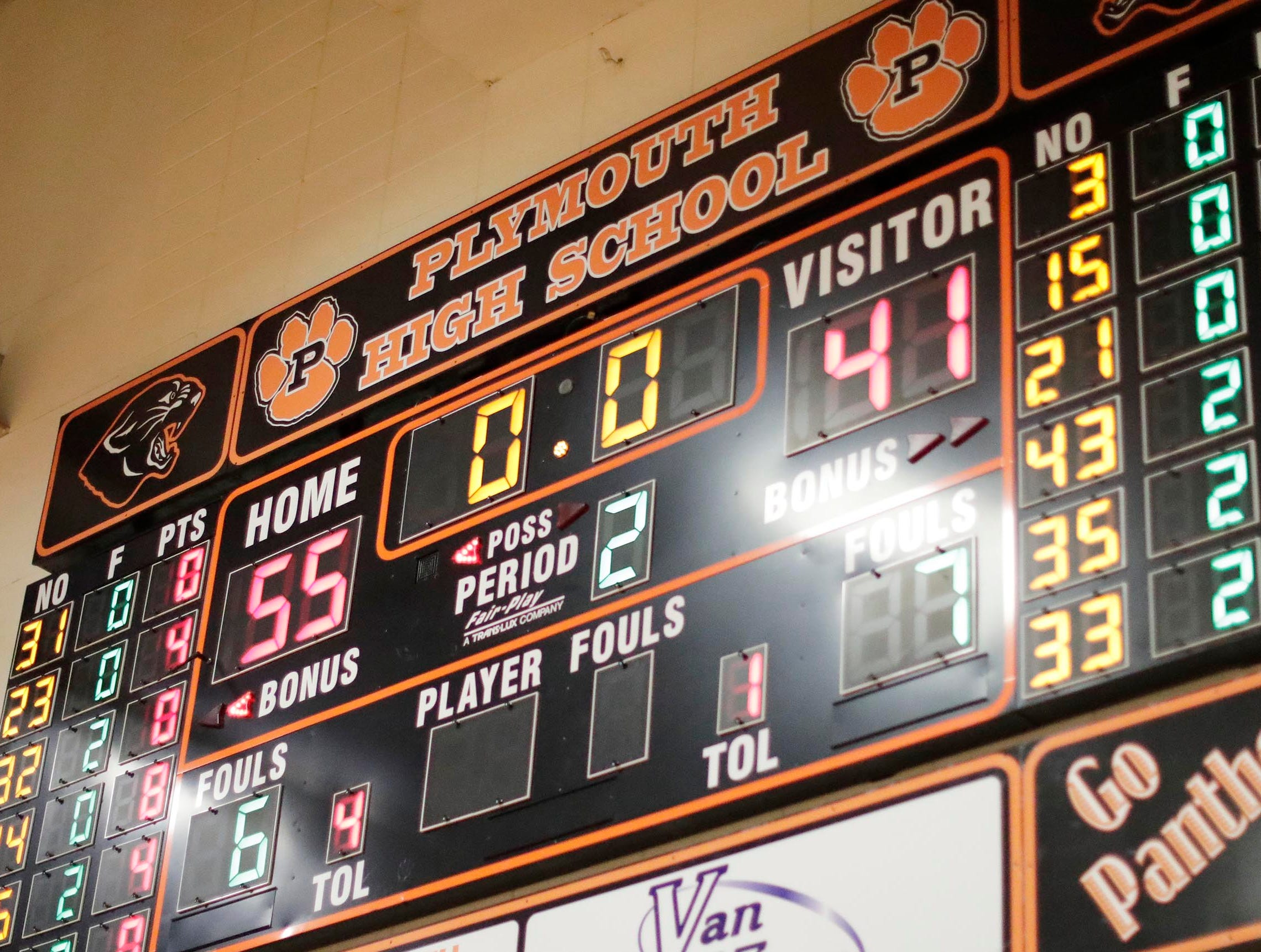 FINAL - Plymouth 55, Winneconne 41, Wednesday, February 21, 2019, in Plymouth, Wis.