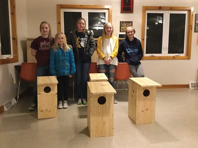 4-H'ers pose with the duck boxes they built.