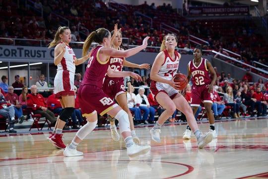 USD guard Ciara Duffy looks towards the basket against Denver on Thursday, Feb. 21, 2019 in Vermillion.