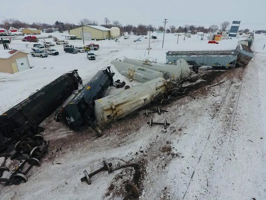 Several train cars were derailed in Wessington, South Dakota Thursday afternoon. Authorities have not yet commented on what caused the accident.
