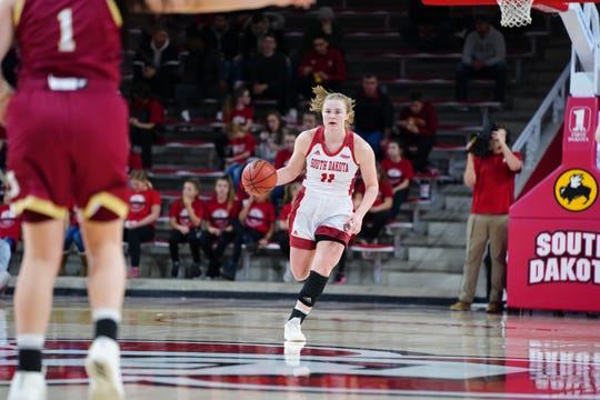 USD guard Monica Arens brings the ball up the floor against Denver on Thursday, Feb. 21, 2019 in Vermillion.