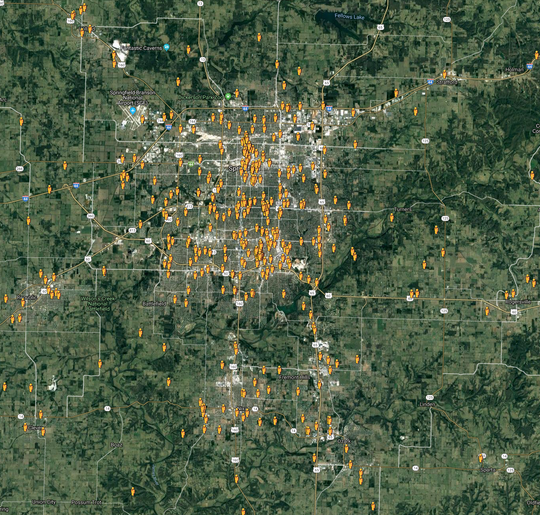 This map show all the users who have downloaded PulsePoint, an app designed to connect folks with CPR training to those who may be in an emergency.