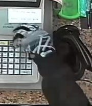 A close-up of the gloves worn by one of the suspects during a robbery at a Waynesboro convenience store Wednesday night.