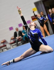 Emma Schwartz of Sartell competes in the floor exercise during 2019 Minnesota gymnastics Class A team competition Friday, Feb. 22, at Maturi Pavilion in Minneapolis.