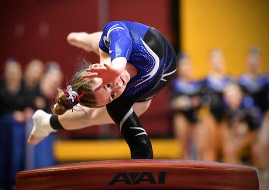 Grace Wittmer-George competes for Sartell in the vault during 2019 Minnesota gymnastics Class A team competition Friday, Feb. 22, at Maturi Pavilion in Minneapolis.