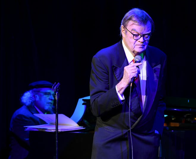"Garrison Keillor performs with Richard Dworsky at the beginning of ""Old Friends"" Thursday, Feb. 21, at Pioneer Place on Fifth in St. Cloud."