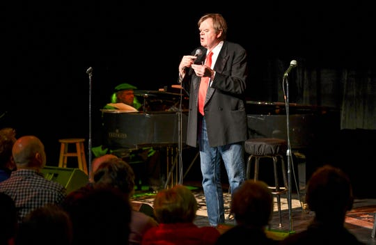 """Garrison Keillor sings during the performance """"Old Friends"""" Thursday, Feb. 21, at Pioneer Place on Fifth in St. Cloud."""