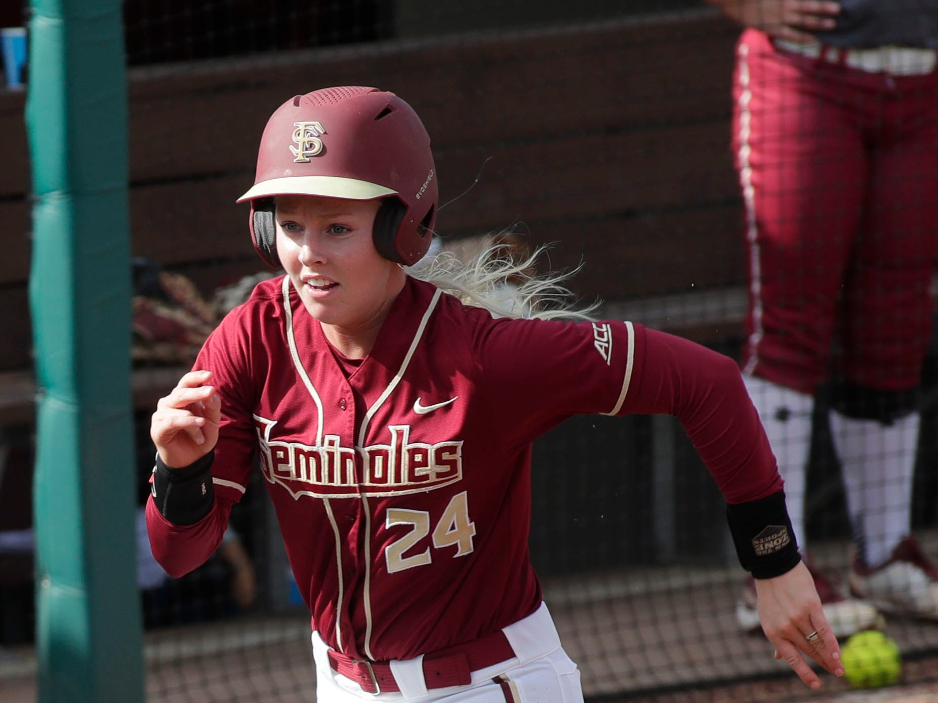 Florida State Seminoles utility player Sydney Sherrill (24) runs home. The Florida State Seminoles host the Elon Phoenixes for the Unconquered Tournament, Friday Feb. 22, 2019.
