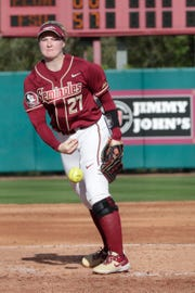 Florida State Seminoles pitcher Kara Bilodeau (27) pitches. The Florida State Seminoles host the Elon Phoenixes for the Unconquered Tournament, Friday Feb. 22, 2019.