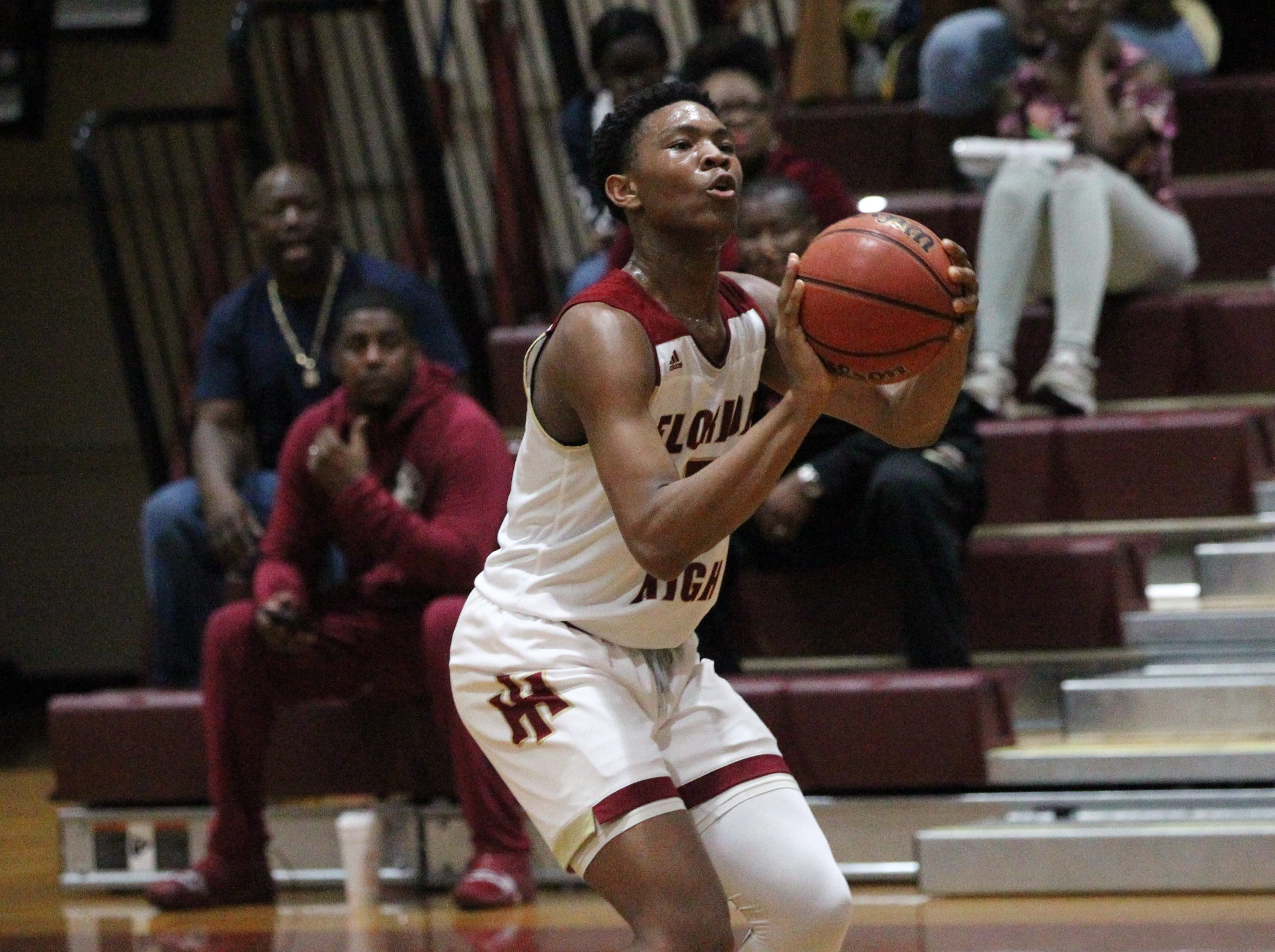 Florida High freshman Jaylen Martin sizes up a 3-pointer as the Seminoles beat Pensacola Catholic 47-42 during a Region 1-5A quarterfinal on Feb. 21, 2019.