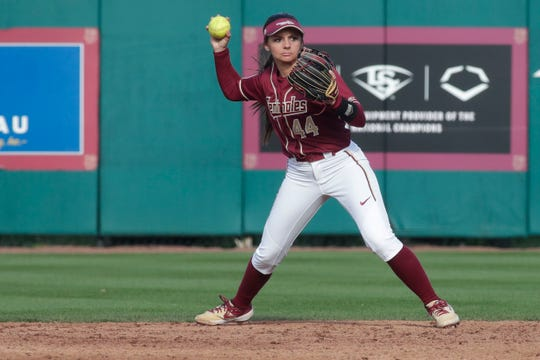 Florida State Seminoles infielder Morgan Noah (44) throws the ball to first versus the Elon Phoenixes for the Unconquered Tournament, Friday Feb. 22, 2019.