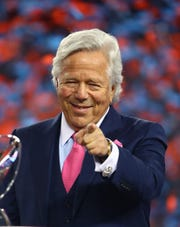 New England Patriots owner Robert Kraft celebrates Jan. 21, 2018, after the AFC Championship Game against the Jacksonville Jaguars at Gillette Stadium in Foxborough, MA.