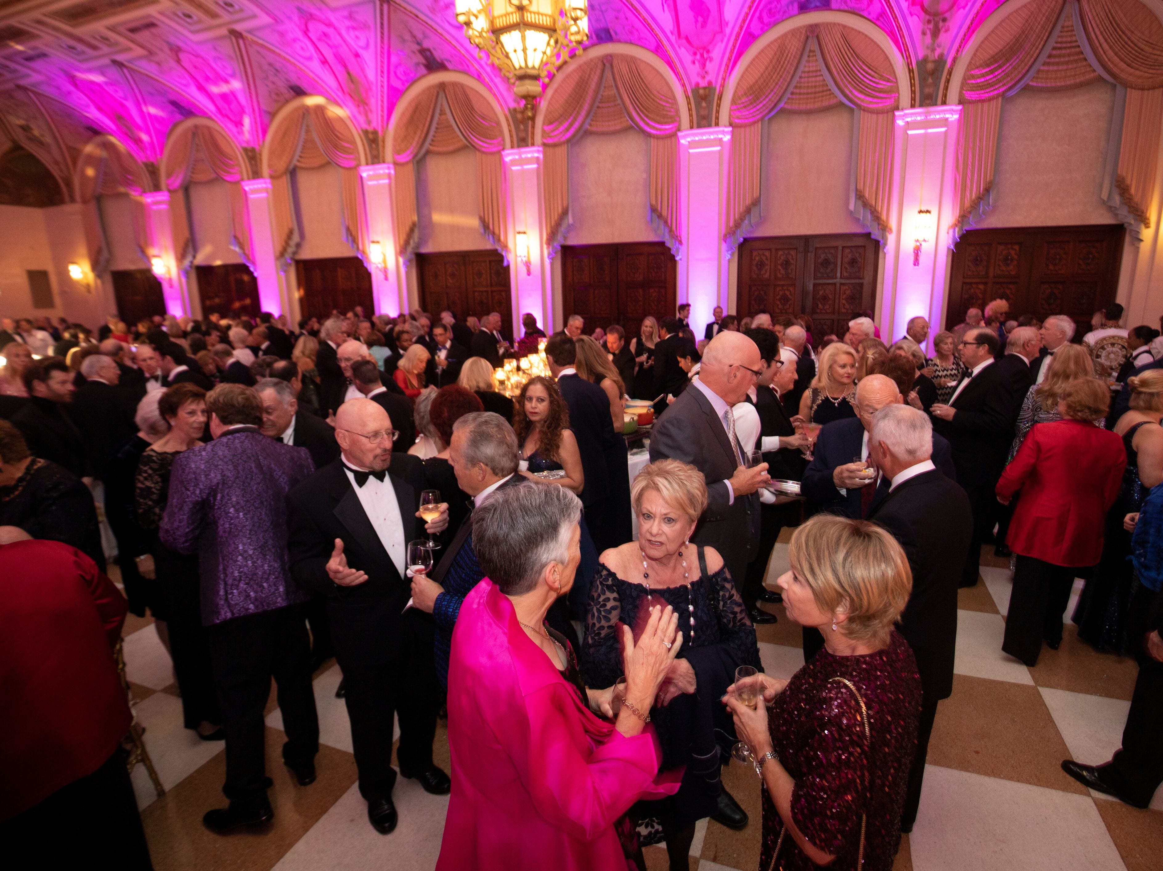 "A cocktail hour in the historical Venetian ballroom kicked off ""The Disco Ball"" at The Breakers Palm Beach on Feb. 2."