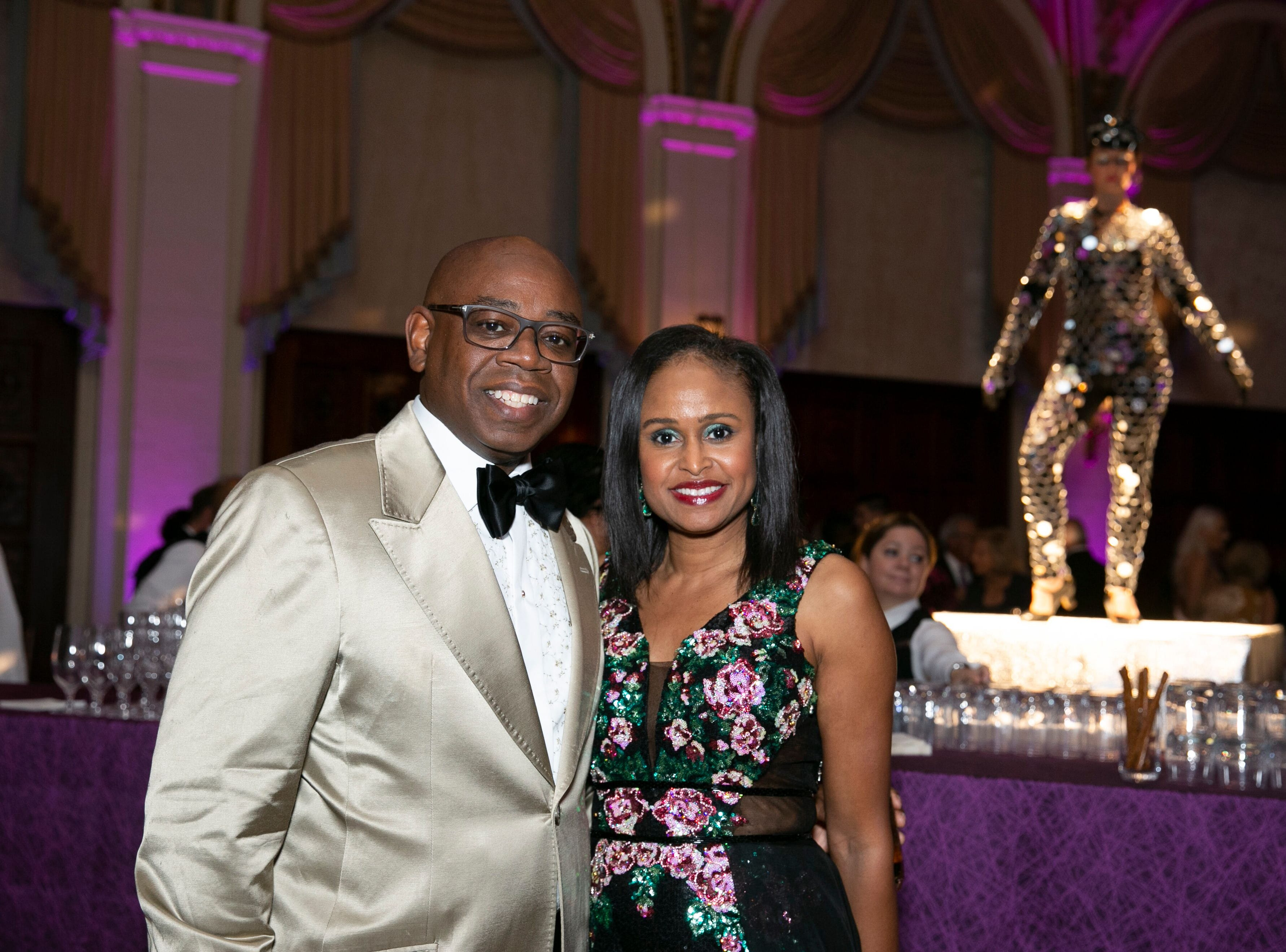"""Euclid and Francine Walker at """"The Disco Ball"""" Feb.2at The Breakers Palm Beach."""