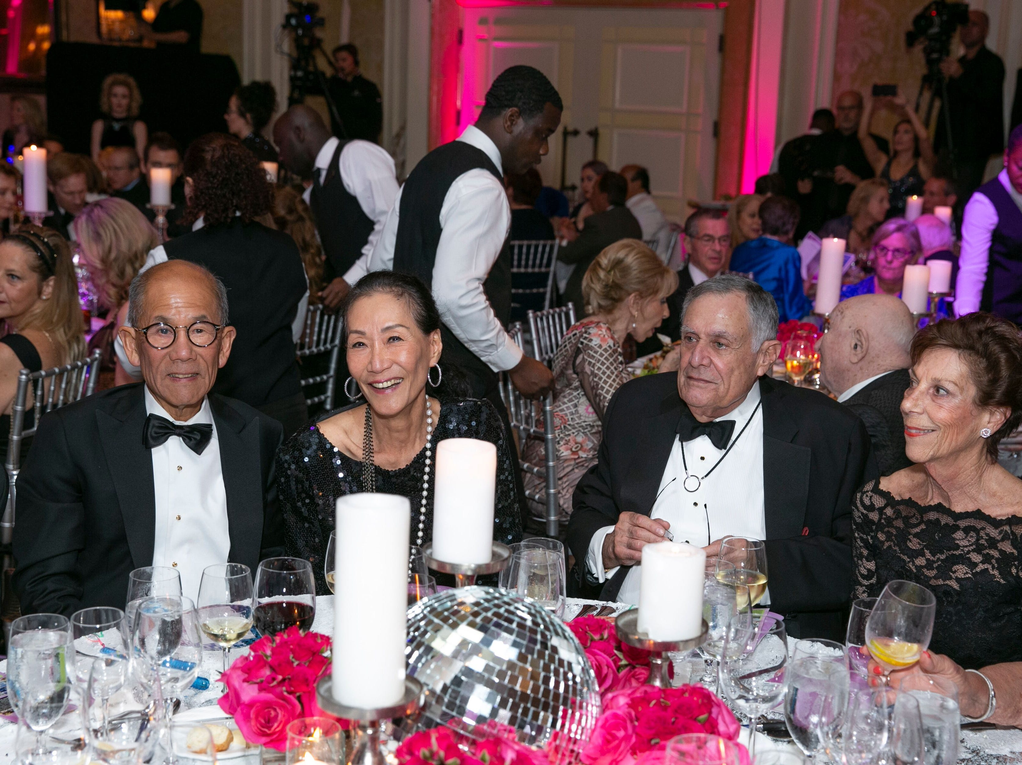 "James and Elizabeth Li, left, with Rick and Peggy Katz at the Maltz Jupiter Theatre's ""The Disco Ball"" Feb. 2 at The Breakers Palm Beach."