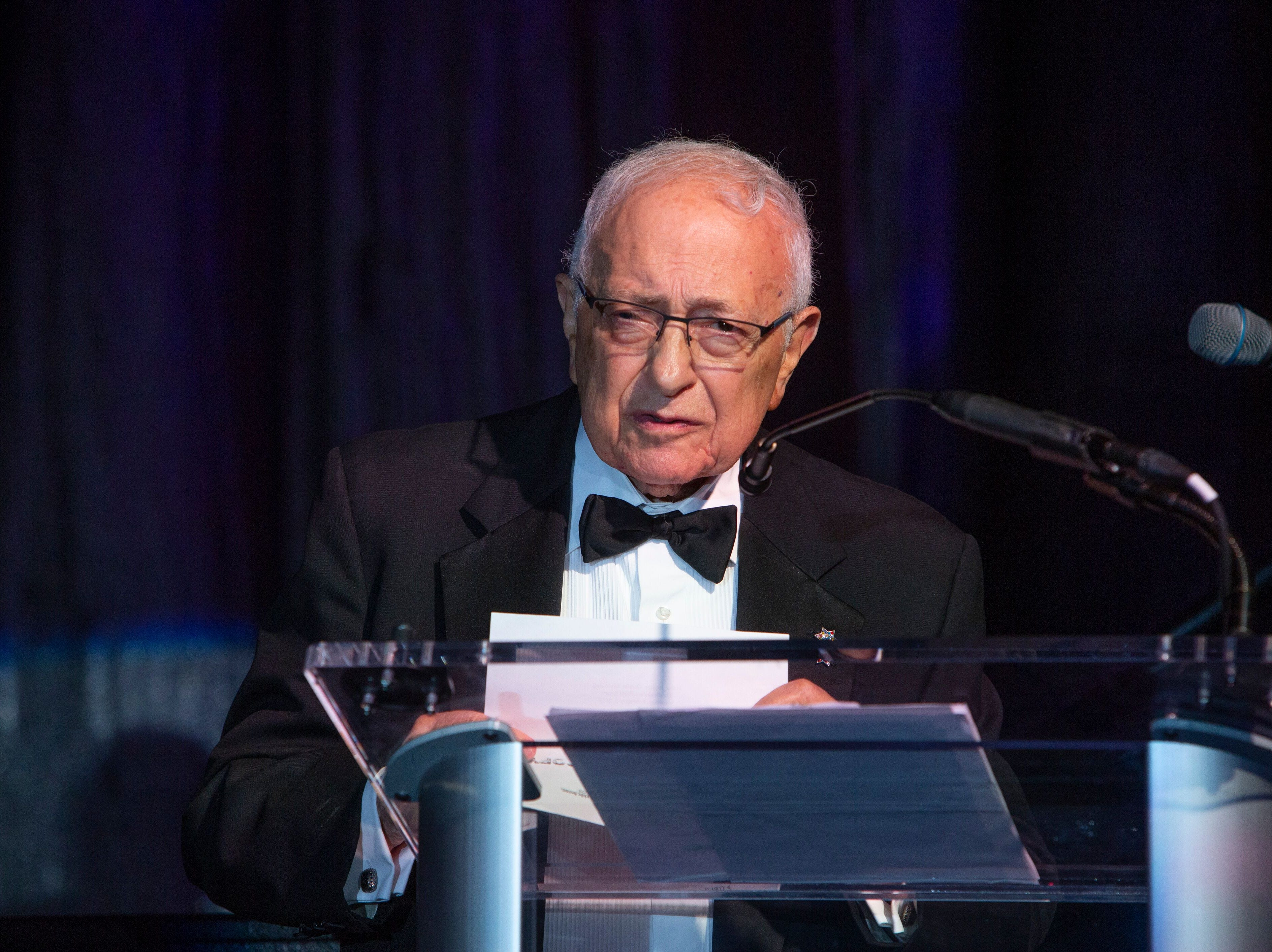 """Milton Maltz, founding board member and chairman emeritus of Maltz Jupiter Theatre, addresses the audience at """"The Disco Ball"""" Feb.2at The Breakers Palm Beach."""