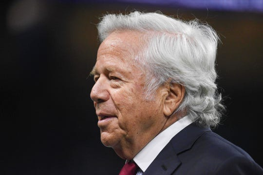 New England Patriots owner Robert Kraft stands before the game Sept. 23, 2018, against the Detroit Lions at Ford Field in Detroit.
