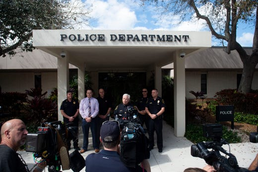 Jupiter Police Chief Daniel Kerr and lead detective Andrew Sharpe announce at a news conference that New England Patriots owner Robert Kraft is charged with two counts of soliciting prostitution Friday, Feb. 22, 2019, at the Jupiter Police Department. Chief Kerr also confirmed they have video evidence.