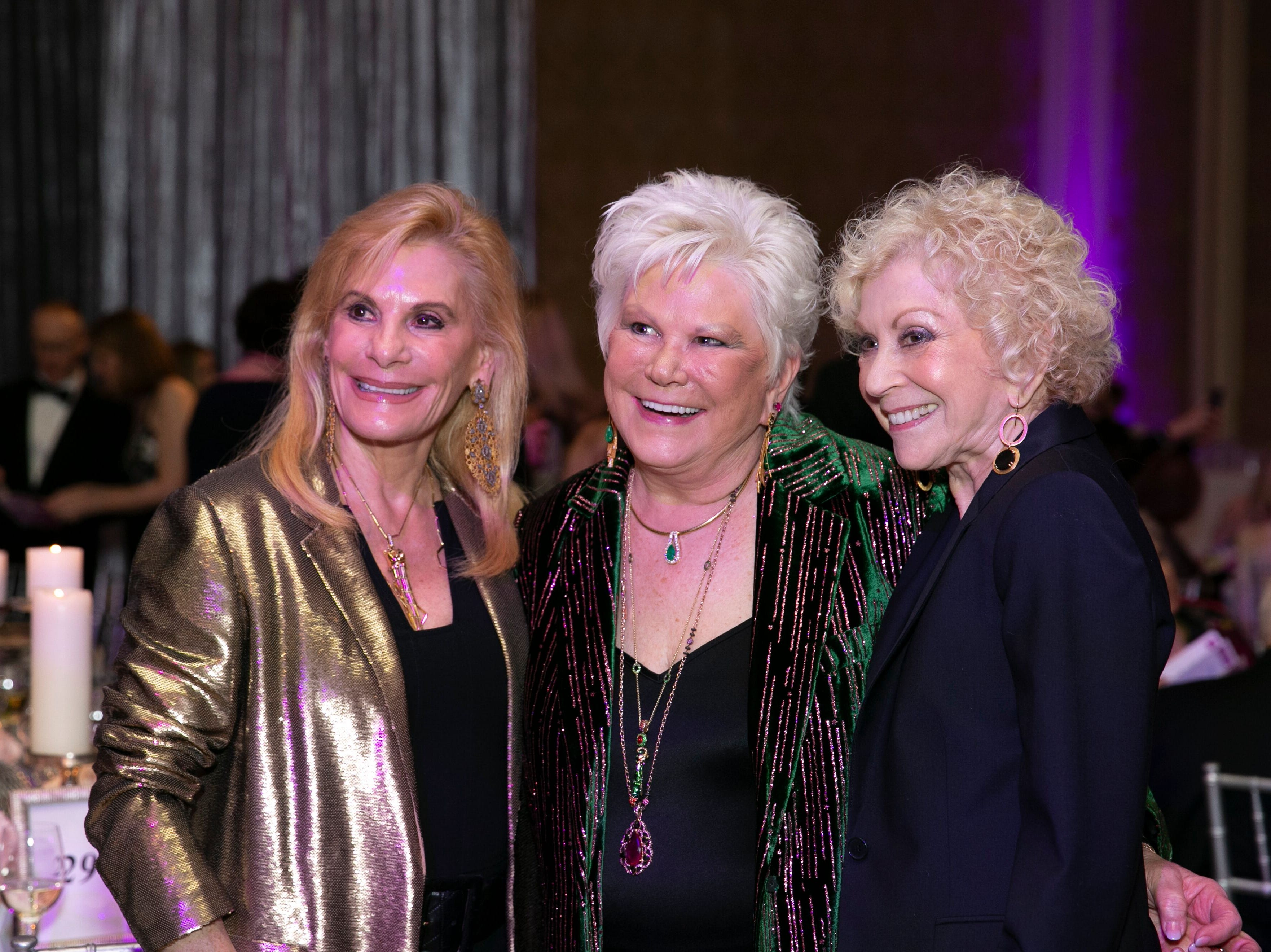 """Margaret Singerman, left, Roe Green and Cookie Marcus at """"The Disco Ball"""" Feb.2at The Breakers Palm Beach."""
