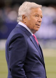 New England Patriots owner Robert Kraft stands before the NFL game against the Indianapolis Colts Oct. 18, 2015, at Lucas Oil Stadium in Indianapolis.