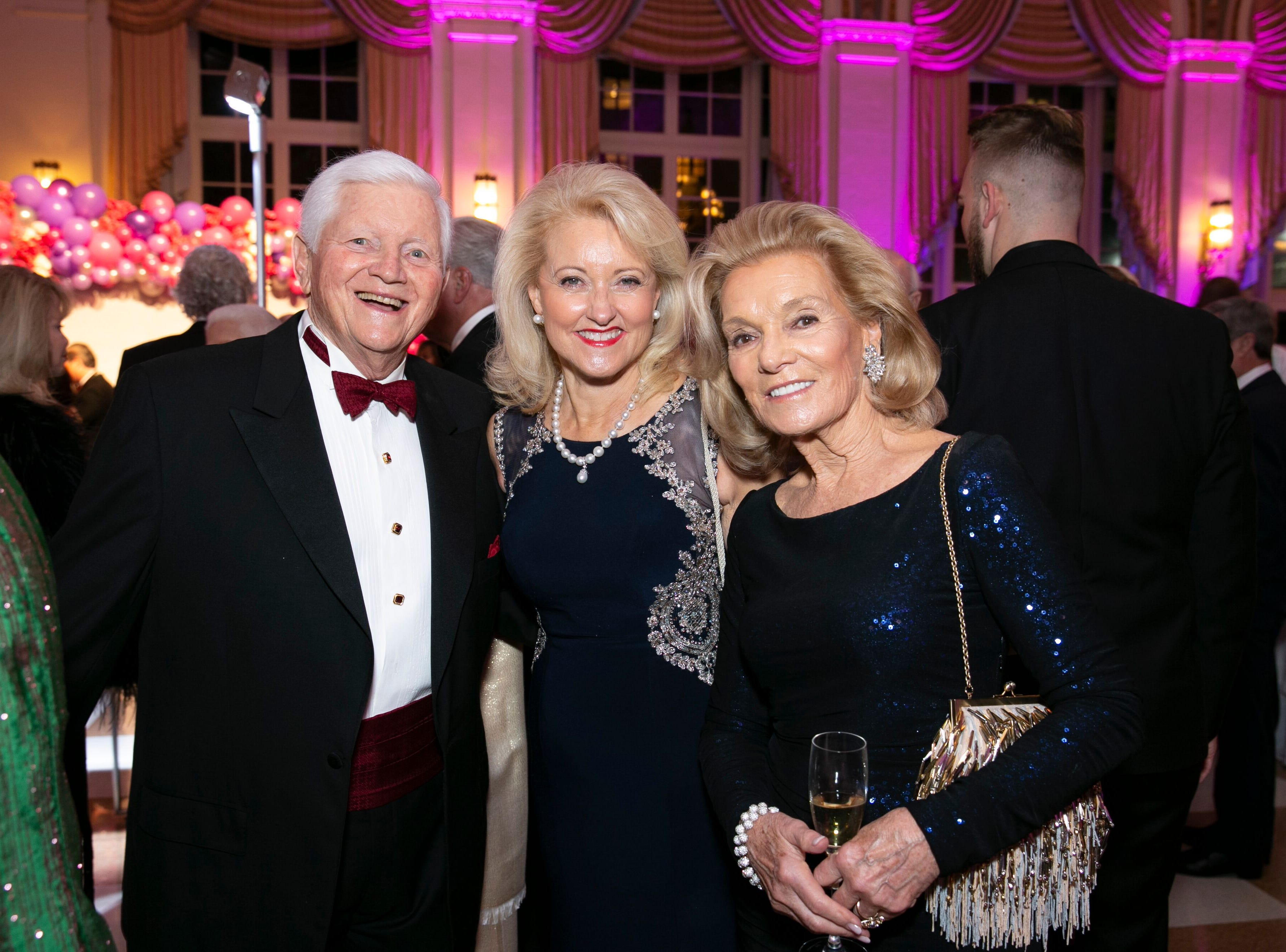 "Jerry Cohn, left, Marcia Cohn and Priscilla Heublein at ""The Disco Ball"" Feb. 2 at The Breakers Palm Beach."