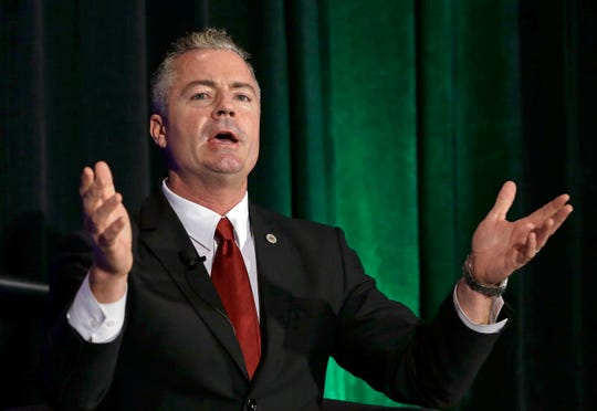 In this March 8, 2018, file photo is Republican Travis Allen, a former Assemblyman, seen in Sacramento. Allen is a candidate for the chair of the California Republican Party.
