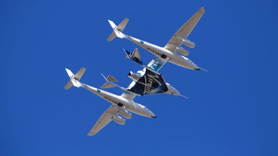 Virgin Galactic's VSS Unity rocket plane flown into the atmosphere before launching Friday over Mojave. Virgin Galactic says its rocket plane has reached space for a second time in a test flight over California on Friday. In addition to two pilots, the spacecraft carried a third crew member to evaluate the cabin from a passenger perspective.