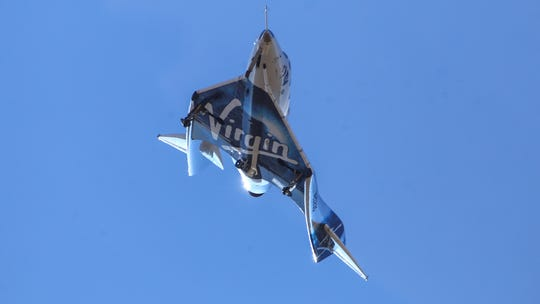 Virgin Galactic's VSS Unity returns to Mojave Air and Space Port after reaching space Friday over Mojave. Virgin The company says the winged spaceship reached an altitude of 55.8 miles.
