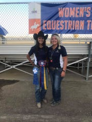 Cheyenne O'Dell, left, and College of the Sequoias head equestrian coach Kim Pitligiano pose for a photo after an event. The Giants will compete at the COS/Reedley College Western Horse Show on Saturday in Tulare.