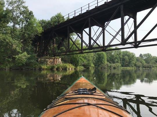 Kayaking on the Eau Claire River east of Schofield.