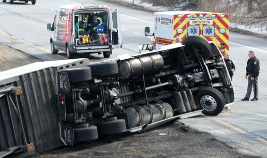 A tractor-trailer rolled over on eastbound Interstate 84 at Exit 20 in the town of Southeast Feb. 22,  2019. The driver suffered minor injuries and was transported to Danbury Hospital. The truck was coming off of I-684 onto I-84 when the accident happened.