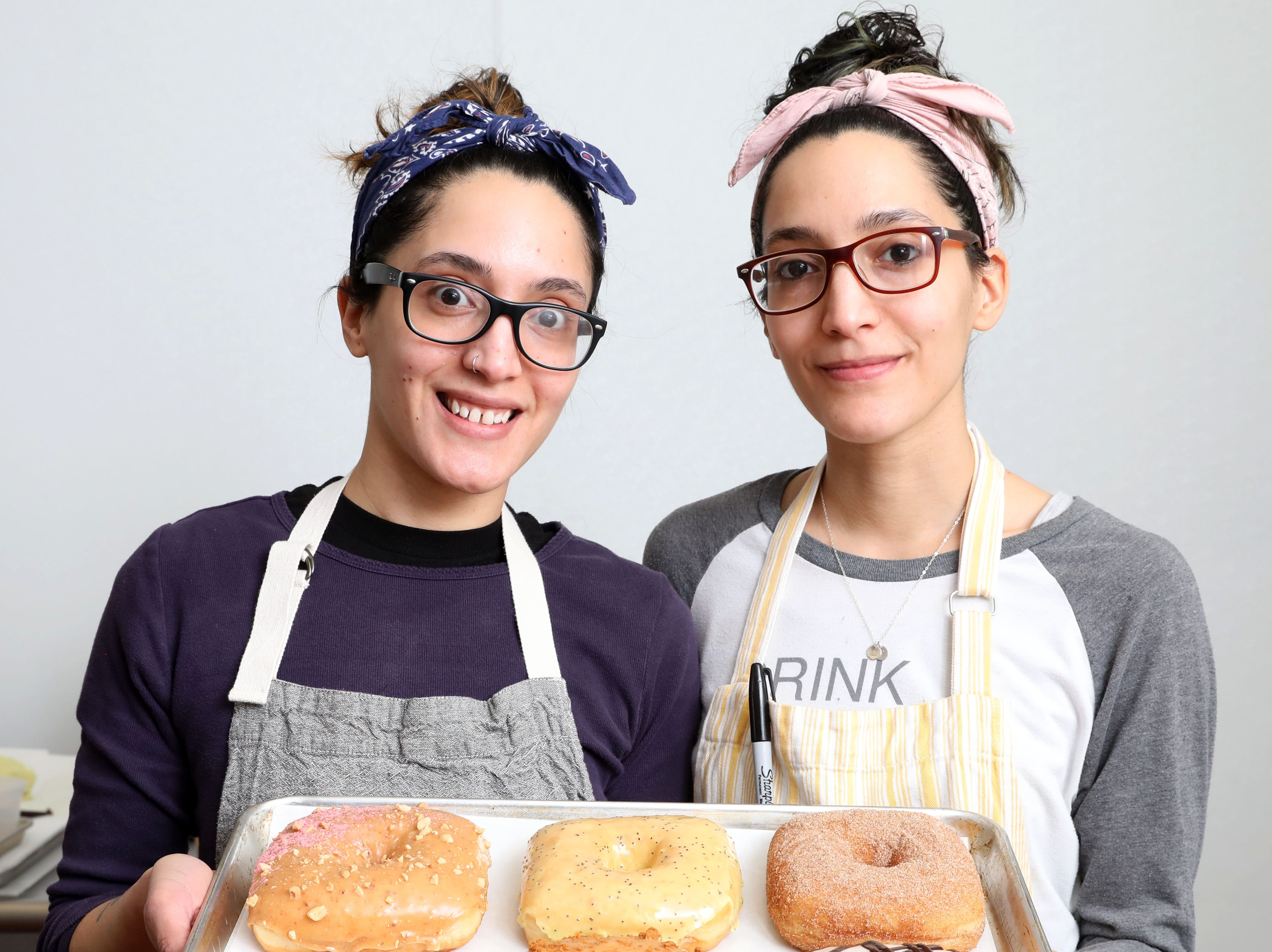 Brittany and Justine Soto, the twin sisters behind Peaceful Provisions bakery specializing in vegan doughnuts, in their commercial kitchen in Tarrytown Feb. 18, 2019.