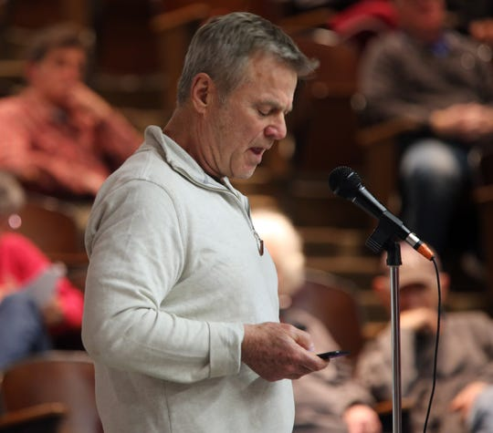 Chestnut Ridge resident Ben Cohen make one final plea to protest over Places of Worship (POW) law before the Chestnut Ridge Board of Trustees votes during board meeting Chestnut Ridge Middle School Feb. 21, 2019.