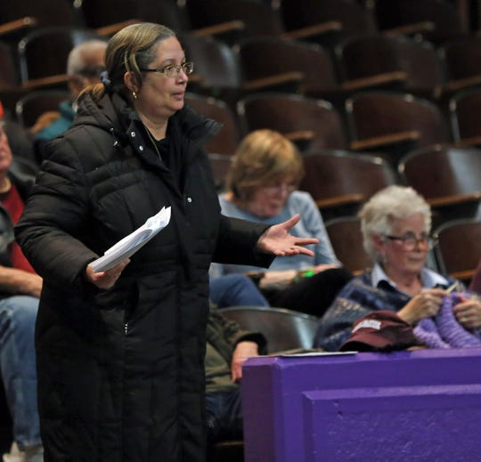 Chestnut Ridge residents make one final plea to protest over Places of Worship (POW) law before the Chestnut Ridge Board of Trustees votes during board meeting Chestnut Ridge Middle School Feb. 21, 2019.