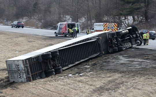 A tractor-trailer rolled over on eastbound Interstate 84 at Exit 20 in the town of Southeast Feb. 22,  2019. The driver suffered minor injuries and was transported to Danbury Hospital. The truck was coming off of I-684 onto I-84 when the accident happened. Traffic eastbound on I-84 was backed up for a couple of miles.