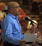 Chestnut Ridge resident Steven Wasserman make one final plea to protest over Places of Worship (POW) law before the Chestnut Ridge Board of Trustees votes during board meeting Chestnut Ridge Middle School Feb. 21, 2019.
