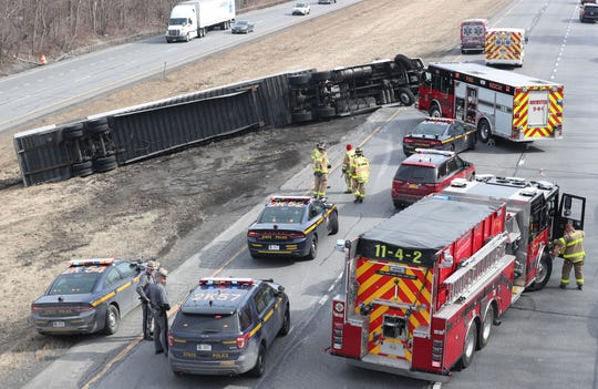 A tractor-trailer rolled over on eastbound Interstate 84 at Exit 20 in the town of Southeast Feb. 22,  2019. The driver suffered minor injuries and was transported to Danbury Hospital. The truck was coming off of I-684 onto I-84 when the accident happened. Eastbound traffic was backed up for a couple of miles.
