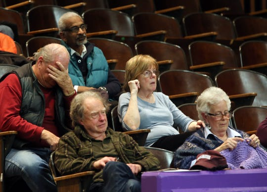 Opponents of Chestnut Ridge zoning that would allow residential houses of worship, attend public meeting where the Chestnut Ridge Board of Trustees will vote on Places of Worship (POW) law at Chestnut Ridge Middle School Feb. 21, 2019.