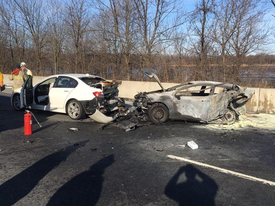 A four-car crash caused a fire on I-95 south Tuesday morning.