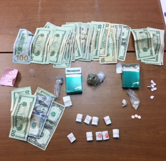State police searched a car Thrusday in Concord and found 3.6 grams of crack cocaine, about 4 grams of bulk heroin, 123 bags of heroin weighing a total of about 8.6 grams, 6.4 MDMA pills and about 7.4 grams of marijuana along with about $1,000 in cash.