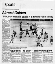 "The sports page of the News Journal after the ""Miracle on Ice"" in February 1980."
