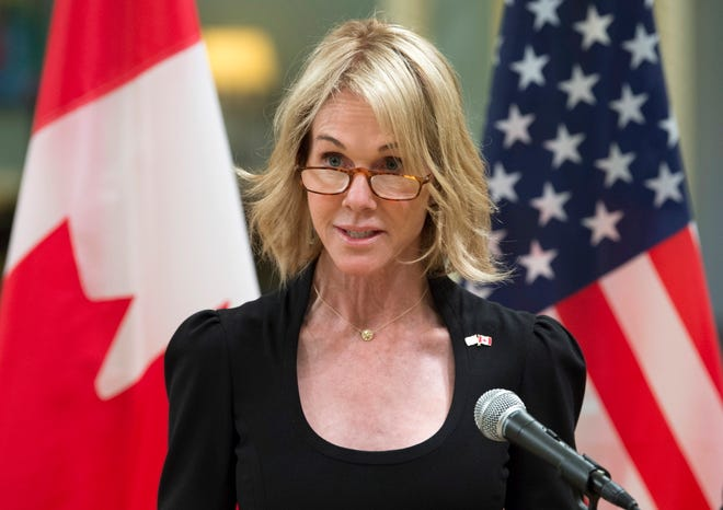 FILE - In this Oct. 23, 2017, file photo, United States Ambassador to Canada Kelly Knight Craft speaks after presenting her credentials during a ceremony at Rideau Hall in Ottawa. (Adrian Wyld/The Canadian Press via AP) ORG XMIT: WX121