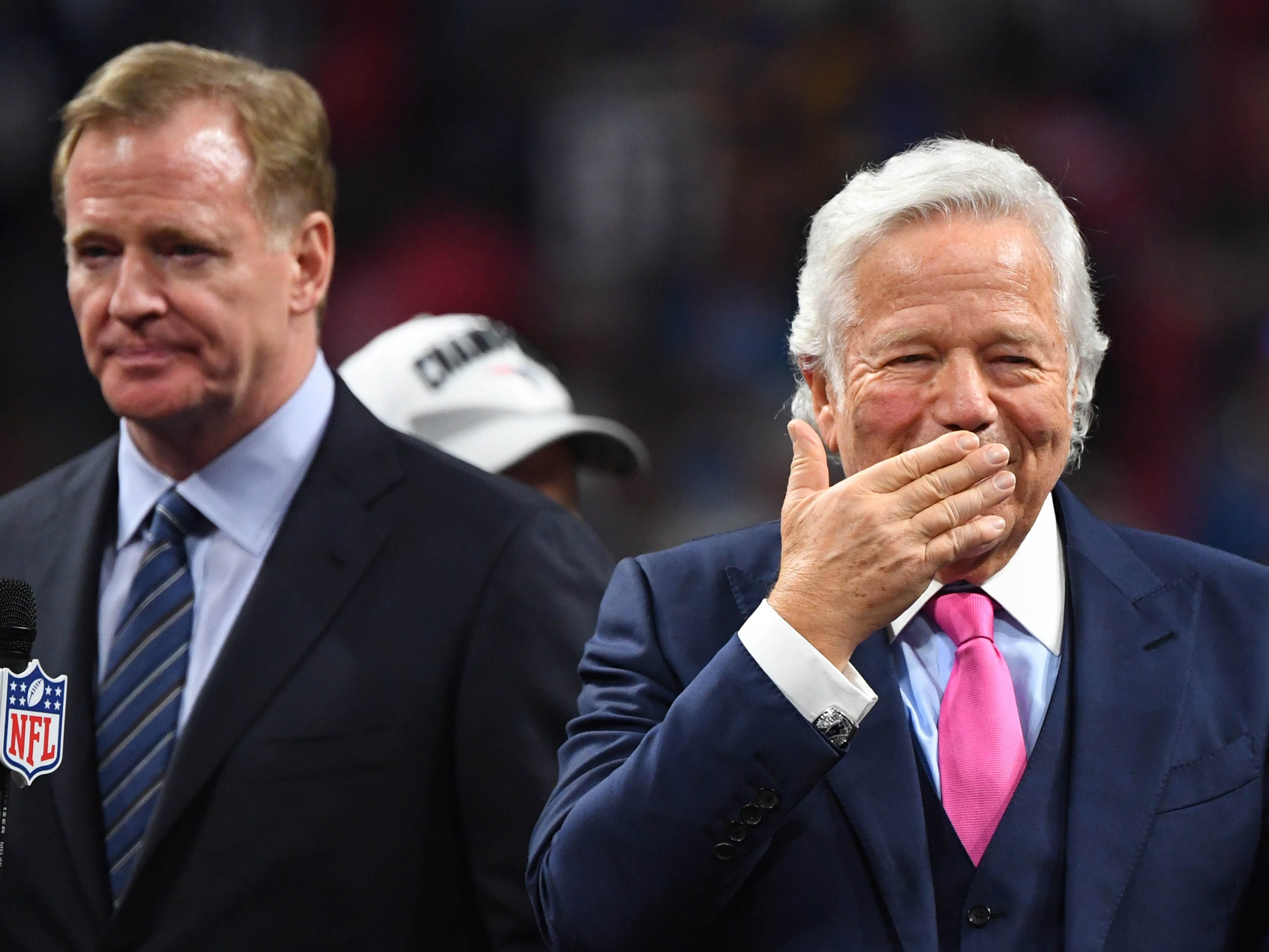 Kraft reacts next to Goodell after Super Bowl LIII against the Los Angeles Rams at Mercedes-Benz Stadium.