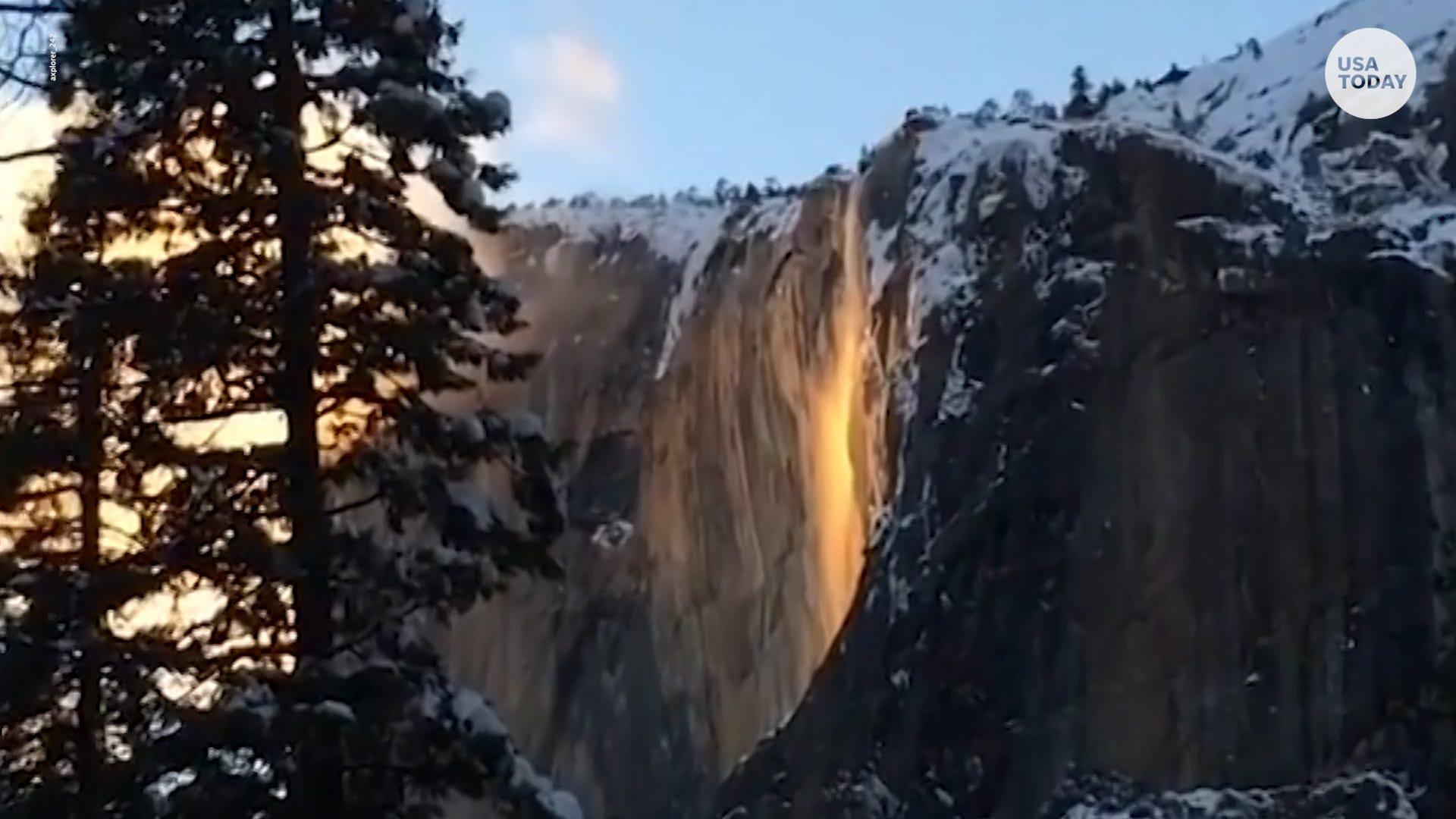 Yosemite's Horsetail Falls glows orange.