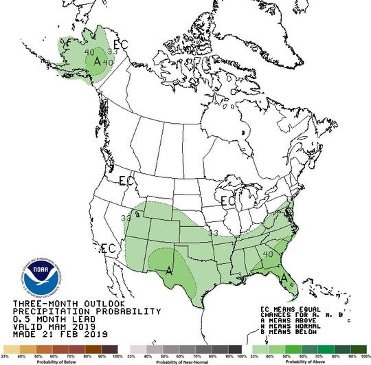 The southern tier of the US, along with Alaska, should see above-average precipitation this spring.