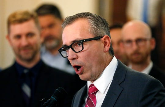 Republican Rep. Dan McCay speaks during a news conference at the Utah State Capitol Thursday, Feb. 21, 2019, in Salt Lake City. Two Republican lawmakers are pushing to ban gay conversion therapy for minors in conservative Utah with a proposal that's being hailed as a milestone by advocates and won't be opposed by the influential Mormon church. McCay acknowledged he wasn't a typical sponsor for such a measure, but he said he wants it help support LGBT youth in a state that's seen a recent spike in youth suicide. (AP Photo/Rick Bowmer)