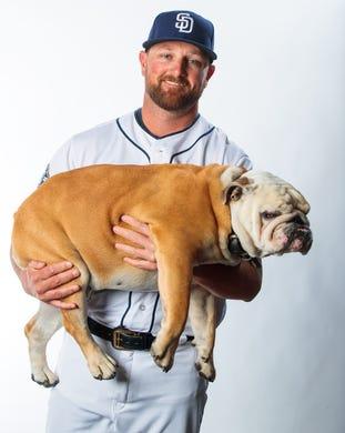 Kirby Yates, Padres, and his dog, Chubs