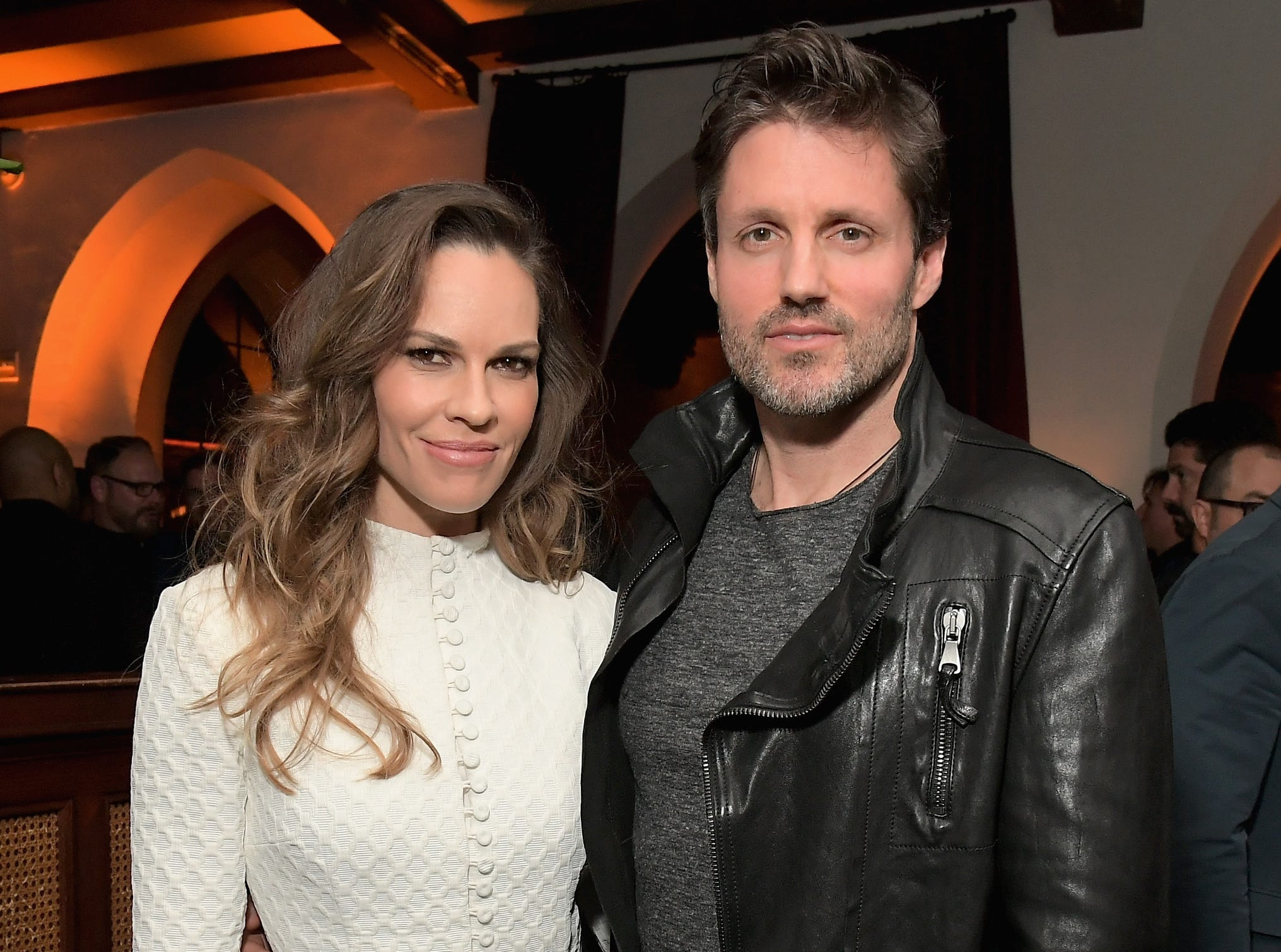 Hilary Swank (L) and Philip Schneider attend the Cadillac Oscar Week Celebration.